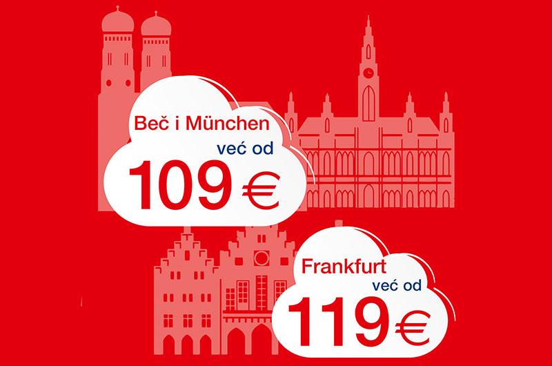 Pogledaj u oblake - leti do Beča, Münchena ili Frankfurta uz Croatia Airlines