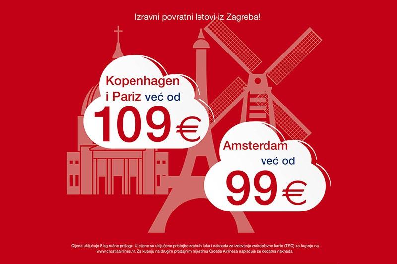 Putuj jeftinije do Amsterdama, Kopenhagena ili Pariza