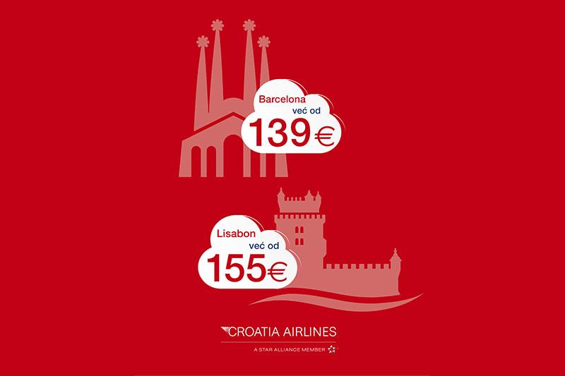 Croatia Airlines: Povoljnije cijene aviokarata za Barcelonu i Lisabon